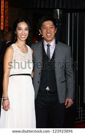 LOS ANGELES - JAN 7:  Xie Xingfang, Dan Lin arrives at the 'Gangster Squad' Premiere at Graumans Chinese Theater on January 7, 2013 in Los Angeles, CA - stock photo