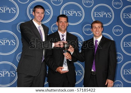 LOS ANGELES - JUL 14:  Ali Farokhmanesh, Ben Johnson and Adam Koch  in the Press Room of the 2010 ESPY Awards at Nokia Theater - LA Live on July14, 2010 in Los Angeles, CA