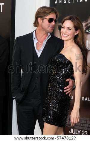 """LOS ANGELES - JUL 19:  Brad Pitt & Angelina Jolie arrive at the """"Salt"""" Premiere at Grauman's Chinese Theater on July19, 2010 in Los Angeles, CA ...."""