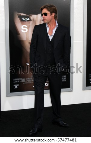 """LOS ANGELES - JUL 19:  Brad Pitt  arrives at the """"Salt"""" Premiere at Grauman's Chinese Theater on July19, 2010 in Los Angeles, CA ...."""