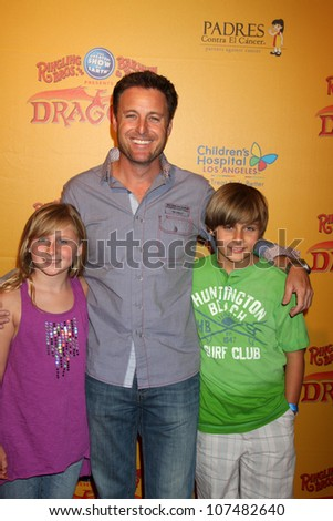 LOS ANGELES - JUL 12:  Chris Harrison, and his children arrives at 'Dragons' presented by Ringling Bros. & Barnum & Bailey Circus at Staples Center on July 12, 2012 in Los Angeles, CA