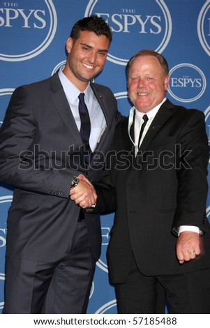 LOS ANGELES - JUL 14:  Detroit Tigers Pitcher Armando Gallaraga & MLB Umpire  Jim Joyce in the Press Room of the 2010 ESPY Awards at Nokia Theater - LA Live on July14, 2010 in Los Angeles, CA ....
