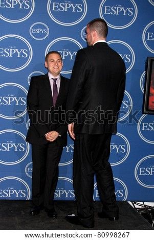 LOS ANGELES - JUL 13:  Jonah Hill, Kevin Love in the Press Room of the 2011 ESPY Awards at Nokia Theater at LA Live on July 13, 2011 in Los Angeles, CA