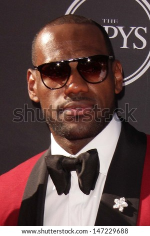LOS ANGELES JUL 17 LeBron James arrives at the 2013 ESPY Awards at the Nokia Theater on July 17 2013 in Los Angeles CA