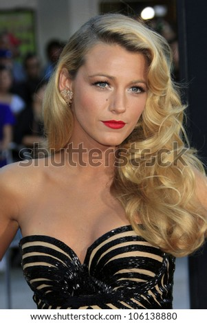 """LOS ANGELES - JUN 25:  Blake Lively arrives at the """"Savages""""  Premiere at Village Theater on June 25, 2012 in Westwood, CA - stock photo"""