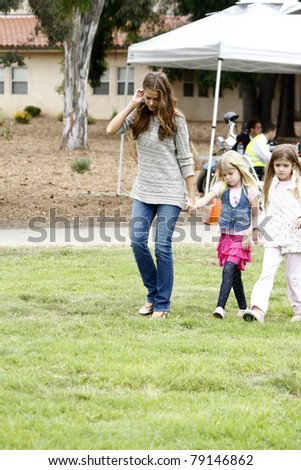 LOS ANGELES - JUN 12:  Denise Richards, Lola Sheen, Sam Sheen arriving at the 22nd Annual 'Time for Heroes' Celebrity Picnic at Wadsworth Theater on June 12, 2011 in Westwood, CA - stock photo