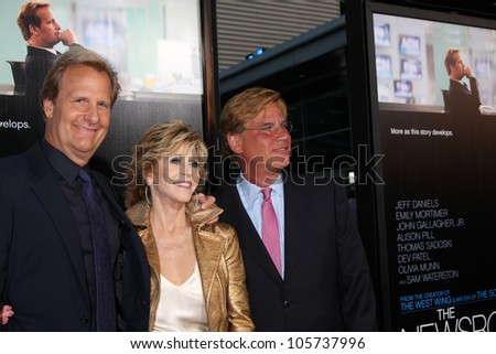 "LOS ANGELES - JUN 20:  Jeff Daniels, Jane Fonda, Aaron Sorkin arrives at HBO's ""The Newsroom"" Los Angeles Premiere at Cinerama Dome Theater on June 20, 2012 in Los Angeles, CA"