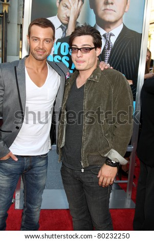 "LOS ANGELES - JUN 30:  Joey Lawrence, Andrew Lawrence arriving at the ""Horrible Bosses"" Premiere at Graumans Chinese Theater on June 30, 2011 in Los Angeles, CA - stock photo"