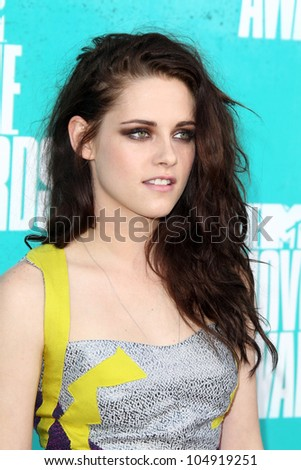 LOS ANGELES - JUN 3:  Kristen Stewart arriving at the 2012 MTV Movie Awards at Gibson Ampitheater on June 3, 2012 in Los Angeles, CA - stock photo