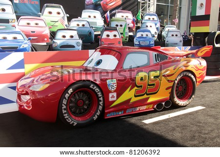 "LOS ANGELES - JUN 18:  LIGHTNING McQUEEN arrives to the ""Cars 2"" World Premiere  on June 18,2011 in Hollywood, CA"