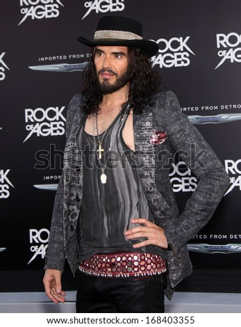 "LOS ANGELES - JUN 08:  RUSSELL BRAND arrives to the ""Rock of Ages"" World Premiere  on June 08, 2012 in Hollywood, CA"