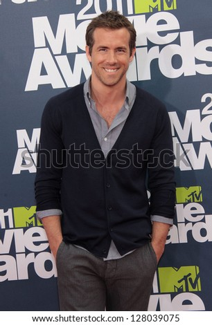 LOS ANGELES - JUN 05:  RYAN REYNOLDS arriving to MTV Movie Awards 2011  on June 05, 2011 in Hollywood, CA - stock photo