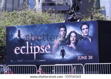 LOS ANGELES - JUNE 24: Billboard at the premiere of the movie Twilight Saga: Eclipse outside the Nokia Theater June 24, 2010 in Los Angeles, California.