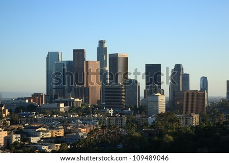 LOS ANGELES - JUNE 30, 2012. Downtown city skyline on June 30, 2012 in Los Angeles, California. With a population of 3,792,621 in 2010, the city ranks 2nd in the U.S. and 48th in the world.