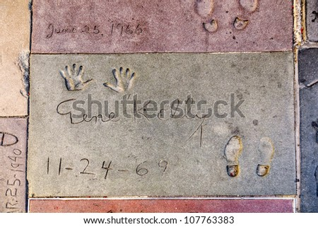 LOS ANGELES - JUNE 26:  handprints of Gene Kelly in Hollywood on June 26,2012 in Los Angeles. There are nearly 200 celebrity handprints in the concrete of Chinese Theater.