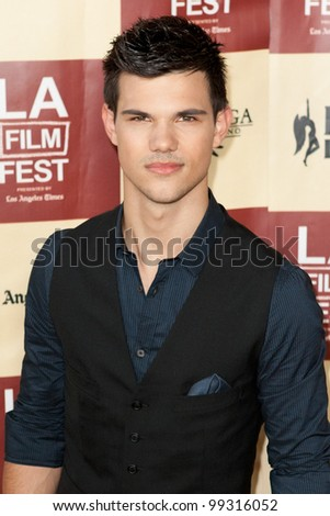 LOS ANGELES - JUNE 21: Taylor Lautner arrives at the Los Angeles Film festival premiere of 'A Better Life' on June 21 2011 in Los Angeles, CA
