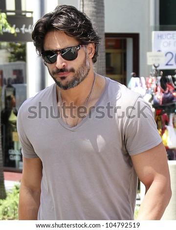 LOS ANGELES - JUNE 8: True Blood star Joe Manganiello is spotted walking in Los Angeles, CA on June 8, 2012.