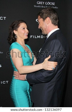 """LOS ANGELES - MAR 18:  Ashley Judd, Gerard Butler arrive at """"Olympus Has Fallen"""" Los Angeles Premiere at the ArcLight Hollywood Theaters on March 18, 2013 in Los Angeles, CA"""