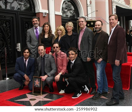 LOS ANGELES - MAR 11:  BIg Bang Theory Cast at the Jim Parsons Hollywood Walk of Fame Ceremony at the Hollywood Boulevard on March 11, 2015 in Los Angeles, CA