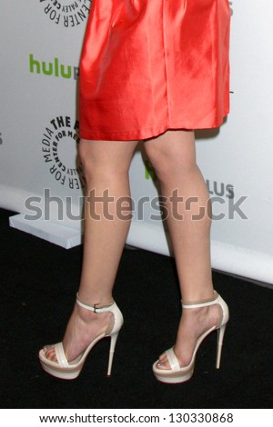 """LOS ANGELES - MAR 3:  Ginnifer Goodwin arrives at the  """"Once Upon A Time"""" PaleyFEST Event at the Saban Theater on March 3, 2013 in Los Angeles, CA - stock photo"""