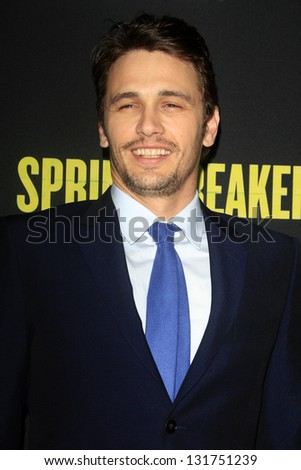 "LOS ANGELES - MAR 14:  James Franco arrives at the 'Spring Breakers"" Premiere at the Arclight, Hollywood on March 14, 2013 in Los Angeles, CA"