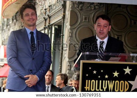 LOS ANGELES - MAR 7:  James Franco, Sam Raimi at a ceremony as James Franco is honored with a star on the Hollywood Walk of Fame on March 7, 2013 in Los Angeles, California