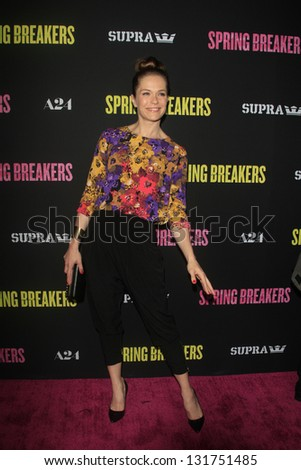 "LOS ANGELES - MAR 14:  Katie Aselton arrives at the 'Spring Breakers"" Premiere at the Arclight, Hollywood on March 14, 2013 in Los Angeles, CA"