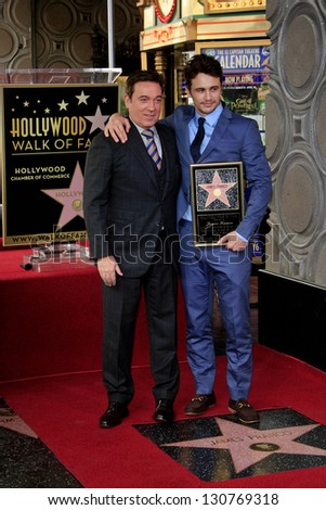 LOS ANGELES - MAR 7: Kevin Huvane, James Franco at a ceremony as James Franco is honored with a star on the Hollywood Walk of Fame on March 7, 2013 in Los Angeles, California