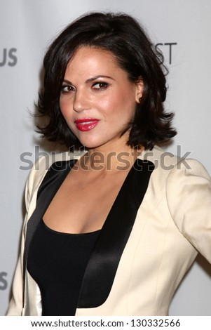 """LOS ANGELES - MAR 3:  Lana Parrilla arrives at the  """"Once Upon A Time"""" PaleyFEST Event at the Saban Theater on March 3, 2013 in Los Angeles, CA - stock photo"""