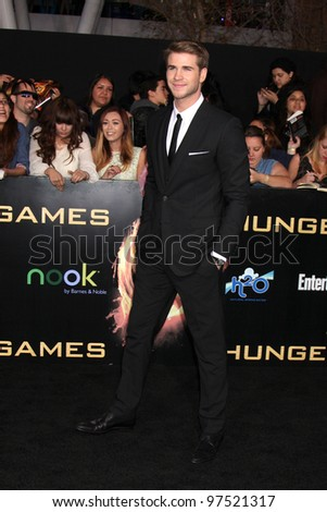"LOS ANGELES - MAR 12:  Liam Hemsworth arrives at the ""Hunger Games"" Premiere at the Nokia Theater at LA Live on March 12, 2012 in Los Angeles, CA"