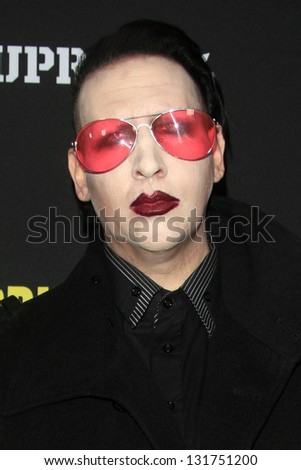 "LOS ANGELES - MAR 14:  Marilyn Manson arrives at the 'Spring Breakers"" Premiere at the Arclight, Hollywood on March 14, 2013 in Los Angeles, CA"