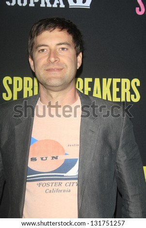 "LOS ANGELES - MAR 14:  Mark Duplass arrives at the 'Spring Breakers"" Premiere at the Arclight, Hollywood on March 14, 2013 in Los Angeles, CA"