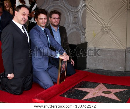 LOS ANGELES - MAR 7:  Sam Raimi. James Franco, Seth Rogen at the Hollywood Walk of Fame Ceremony honoring James Franco at the El Capitan Theater on March 7, 2013 in Los Angeles, CA