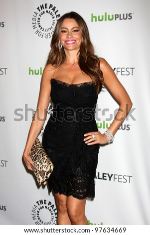 "LOS ANGELES - MAR 14:  Sofia Vergara arrives at the ""Modern Family"" PaleyFest Event at the Saban Theater on March 14, 2012 in Los Angeles, CA"