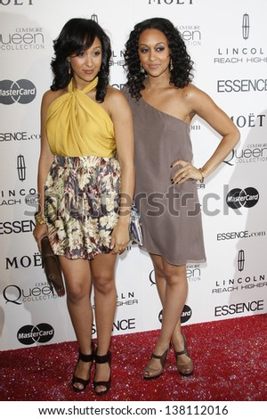 LOS ANGELES - MAR 4: Tamara and Tia Mowry at the 3rd annual Essence Black Women in Hollywood Luncheon at the Beverly Hills Hotel in Beverly Hills, California on March 4, 2010 - stock photo