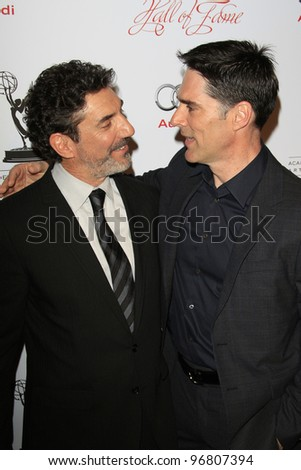 LOS ANGELES - MAR 1:  Thomas Gibson; Chuck Lorre arrives at the Academy of Television Arts & Sciences 21st Annual Hall of Fame Ceremony at the Beverly Hills Hotel on March 1, 2012 in Beverly Hills, CA