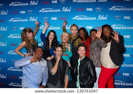 """LOS ANGELES - MAR 7:  Top 10 Contestants arrive at the 2013 """"American Idol"""" Finalists Party at the The Grove on March 7, 2013 in Los Angeles, CA - stock photo"""