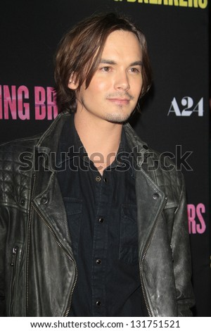 "LOS ANGELES - MAR 14:  Tyler Blackburn arrives at the 'Spring Breakers"" Premiere at the Arclight, Hollywood on March 14, 2013 in Los Angeles, CA"