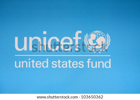 "LOS ANGELES - MAR 15:  UNICEF United States Fund Logo on the backdrop at the ""UNICEF Playlist With The A-List"" Concert at the El Rey Theater on March 15, 2012 in Los Angeles, CA"