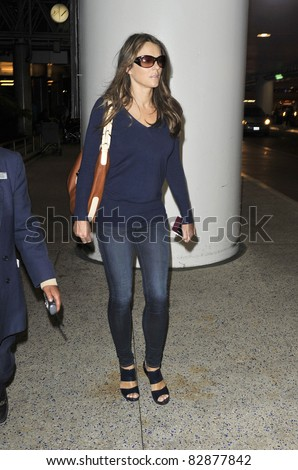 LOS ANGELES-MARCH 13: Actress Elizabeth Hurley at LAX airport. March 13, 2011 in Los Angeles, California