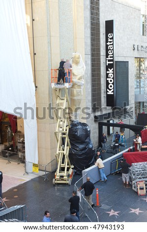 LOS ANGELES - MARCH 3:  An Oscar statue is setup at the Kodak Theater on March 3, 2010 in Los Angeles.  The 82nd annual Academy Awards will be held on March 7, 2010