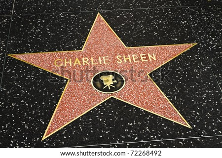 LOS ANGELES-MARCH 1: Charlie Sheen's star on the Hollywood Walk of Fame on March 1, 2011 in Los Angeles. The actor's star and the Walk of Fame draw tourists from all over the world.