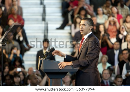 LOS ANGELES - MARCH 19: President Barack Obama speaking at a town hall meeting at the Miguel Contreras Learning Center on March 19, 2009 in Los Angeles.