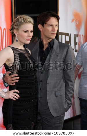 "LOS ANGELES - MAY 30:  Anna Paquin, Stephen Moyer- arrives at the ""True Blood"" 5th Season Premiere at Cinerama Dome Theater on May 30, 2012 in Los Angeles, CA"
