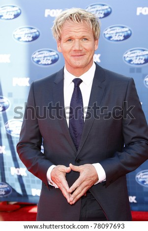 LOS ANGELES - MAY 25: Gordon Ramsay at the American Idol Finale at the Nokia Theater in Los Angeles, California on May 25, 2011.