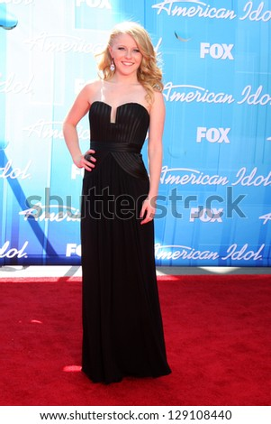 "LOS ANGELES - MAY 23:  Hollie Cavanagh arrives at the ""American Idol 2012"" Finale at Nokia Theater on May 23, 2012 in Los Angeles, CA - stock photo"