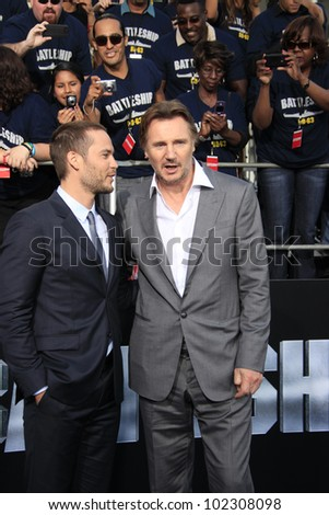 LOS ANGELES - MAY 10: Liam Neeson, Taylor Kitsch at the premiere of Universal Pictures' 'Battleship' at The Nokia Theater L.A. Live on May 10, 2012 in Los Angeles, California