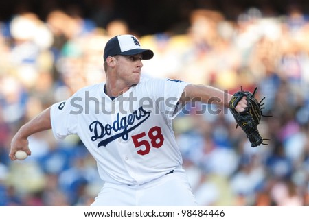 LOS ANGELES - MAY 30: Los Angeles Dodgers P Chad Billingsley #58 pitches during the MLB game between the Colorado Rockies & the Los Angeles Dodgers on May 30 2011 at Dodger Stadium in Los Angeles.