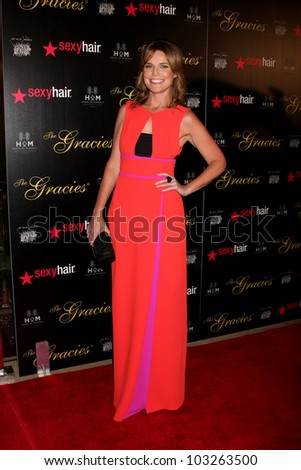 LOS ANGELES - MAY 22:  Savannah Guthrie arrives at the 37th Annual Gracie Awards Gala at Beverly Hilton Hotel on May 22, 2012 in Beverly Hllls, CA