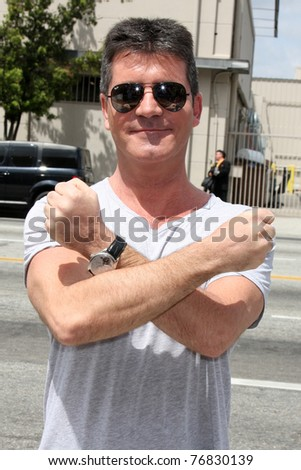 "LOS ANGELES - MAY 8:  Simon Cowell, one of the talent judges,  arriving at the ""X-Factor Auditions"" at Galen Center on May 8, 2011 in Los Angeles, CA"